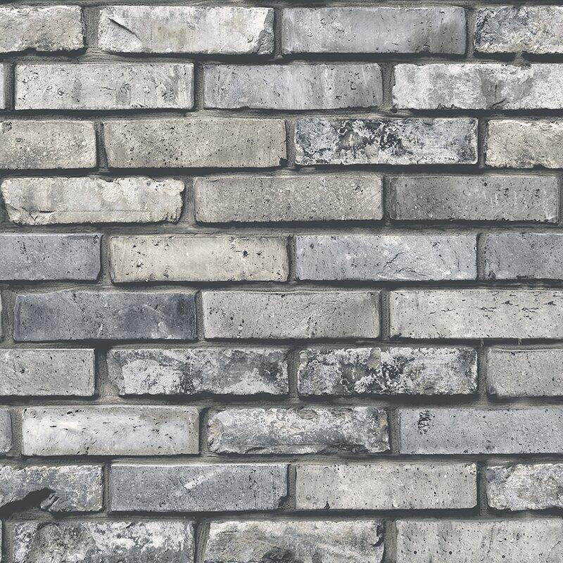 "Essentials 33' x 20.5"" Painted Brick Wallpaper Roll"