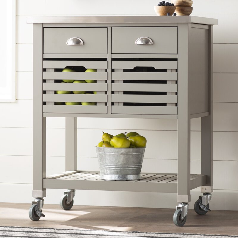 metal kitchen islands kitchen cart with stainless top amp reviews birch 4092