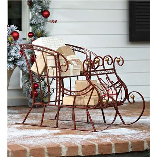 metal holiday sleigh figurine - Outdoor Christmas Sleigh Decorations