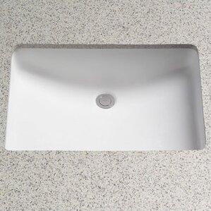 Rimless Ceramic Rectangular Undermount Bathroom Sink With Overflow