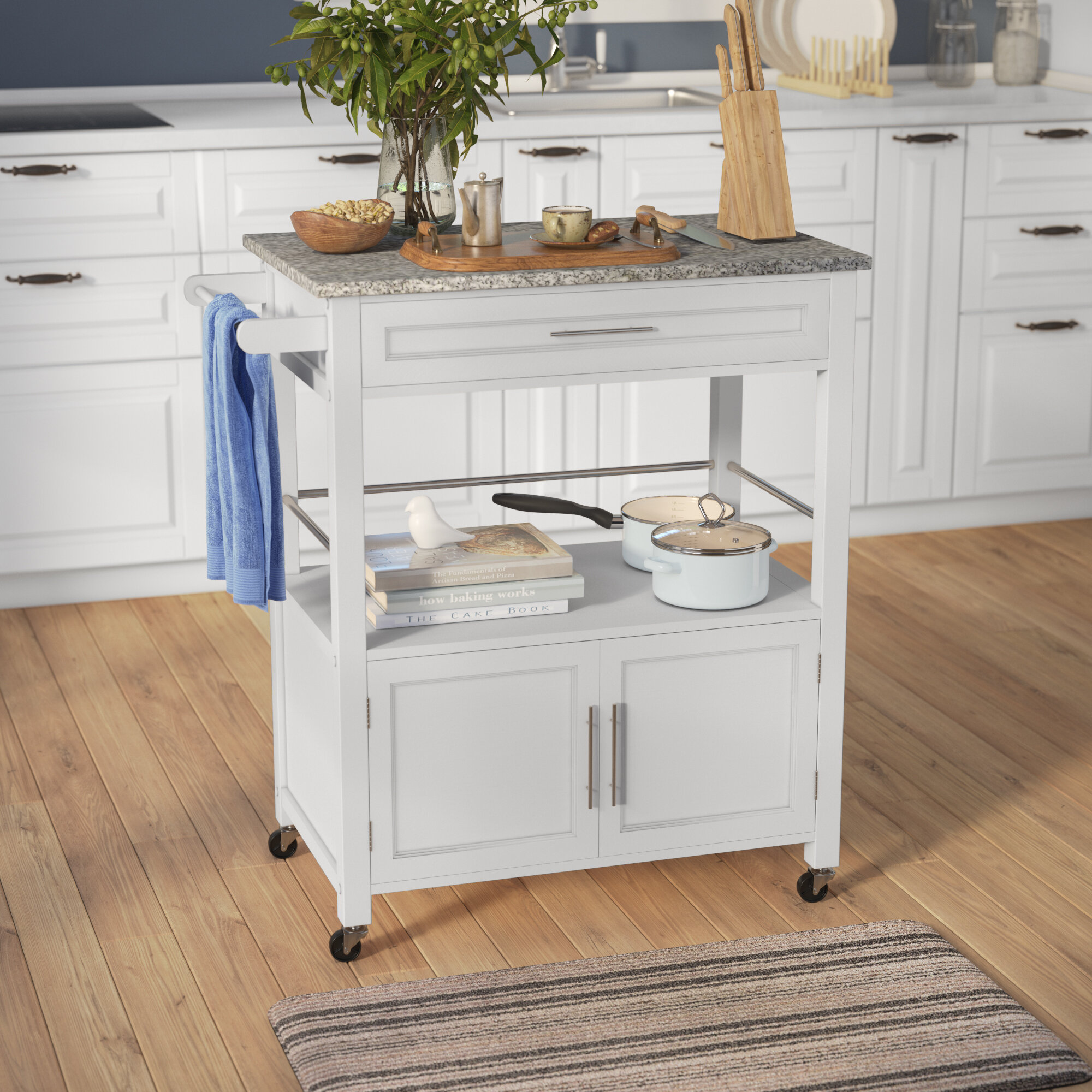 Andover Mills Snow Kitchen Island with Granite Top & Reviews | Wayfair