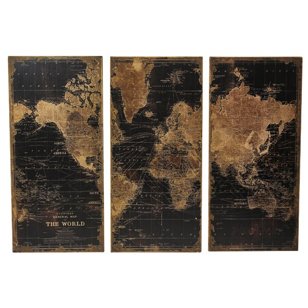 Trent Austin Design Stanford World Map 3 Piece Graphic Art