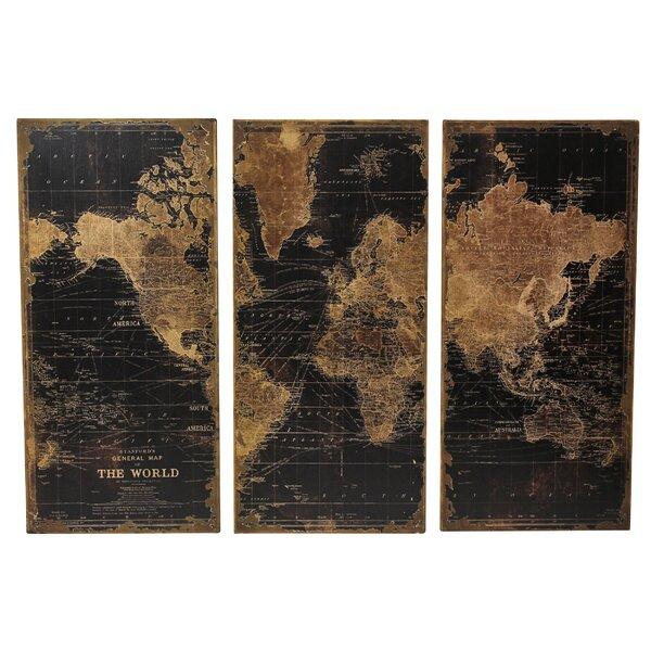 Trent Austin Design Stanford World Map 3 Piece Graphic Art