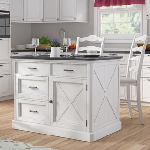 Moravia 3 Piece Kitchen Island Set with Engineered Quartz