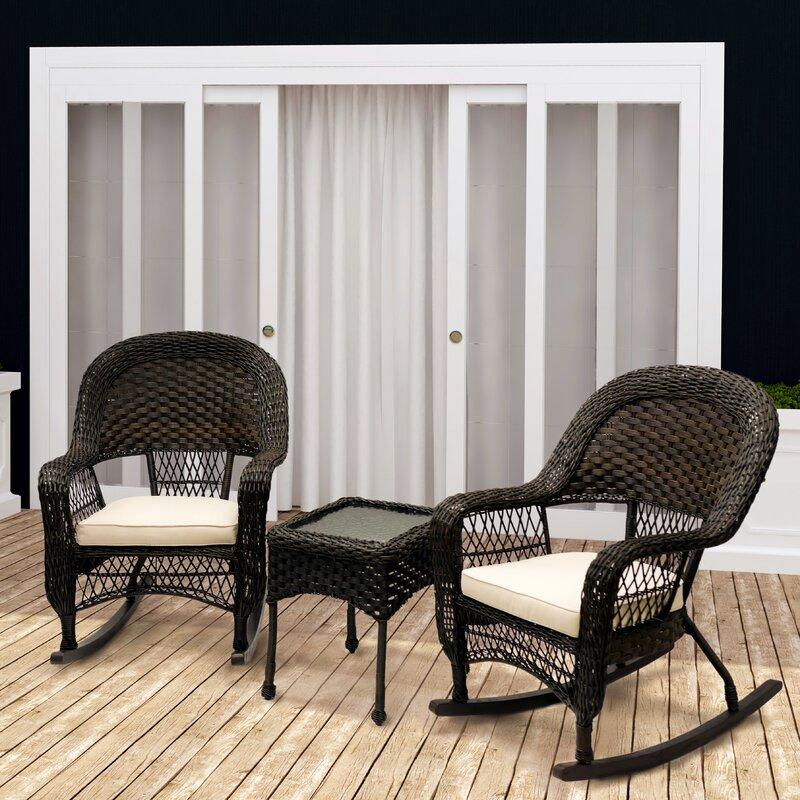 Veranda 3 Piece Rocking Chair Set With Cushions Reviews Birch Lane