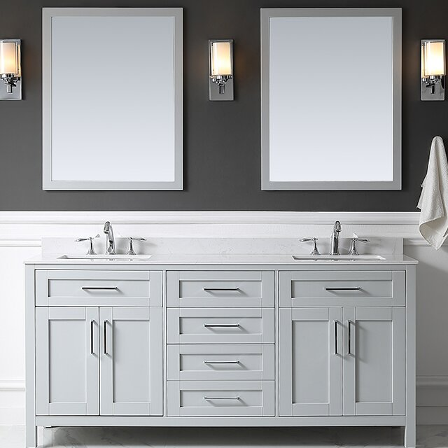 Tahoe 72  Double Bathroom Vanity Set with Mirror in Dove Gray Ove Decors