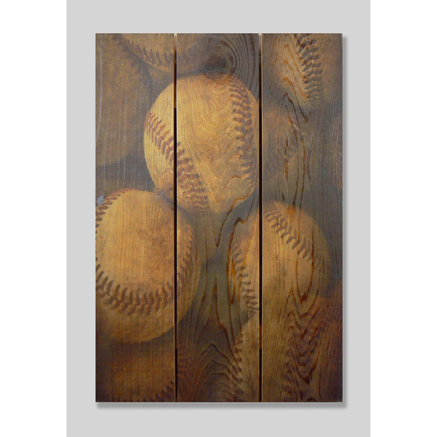 Vintage Baseball Wall Decor : Gizaun art vintage baseball cedar painting print on