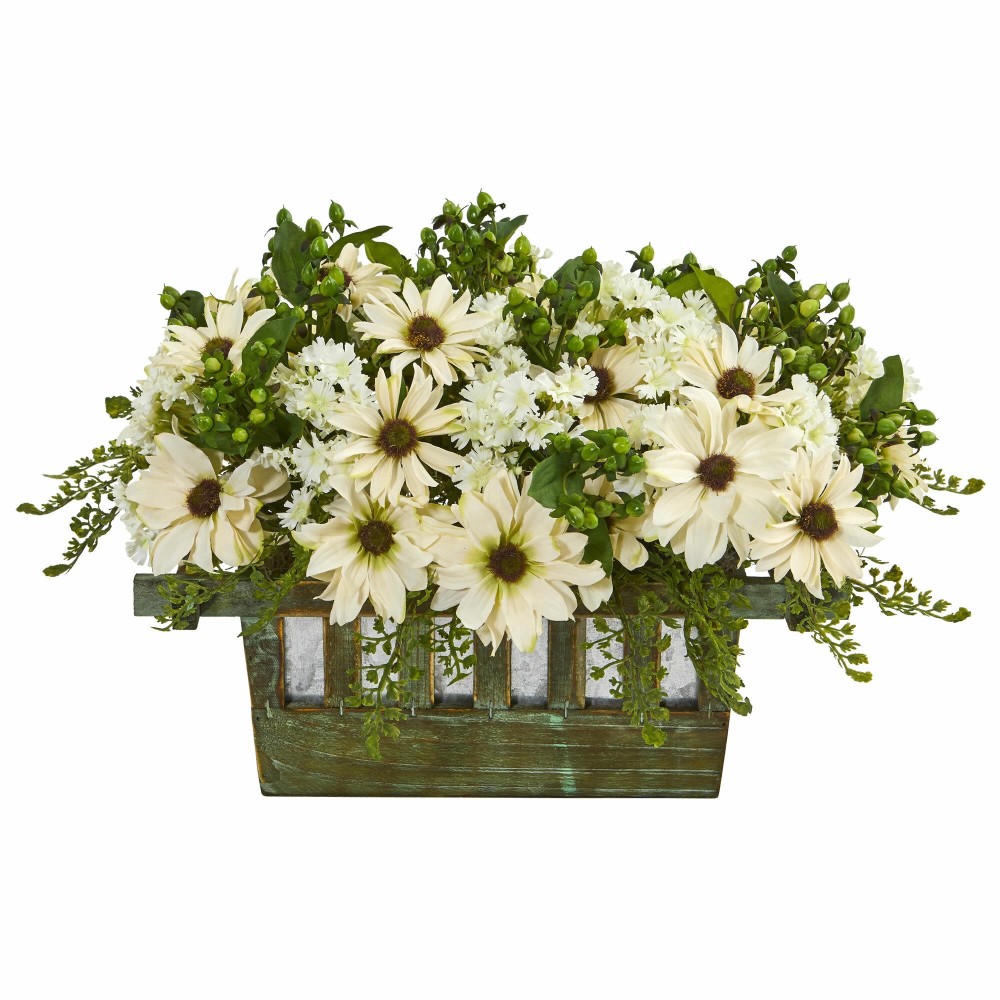 Gracie Oaks Daisy Floral Arrangement In Decorative Planter Wayfair