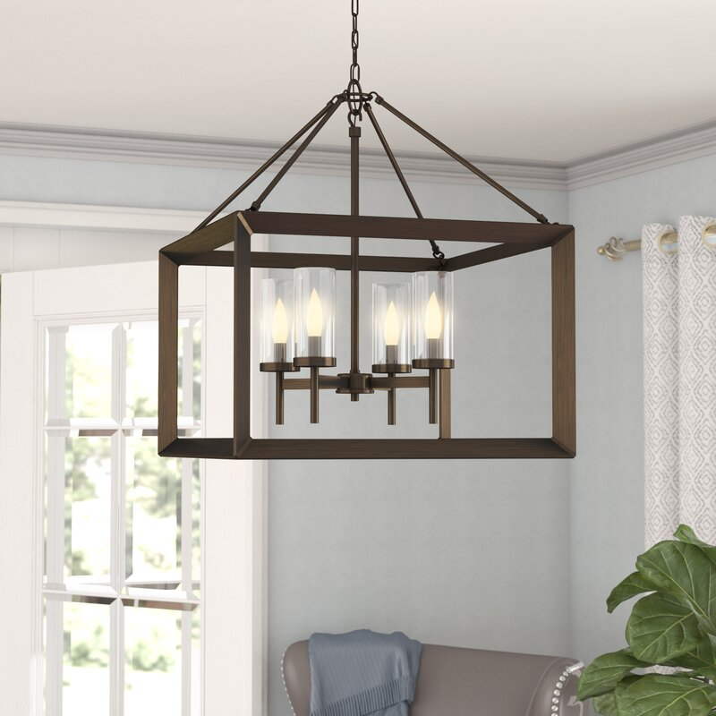 Farmhouse Entryway Chandelier: Three Posts Thorne 4-Light Hanging Foyer Pendant & Reviews
