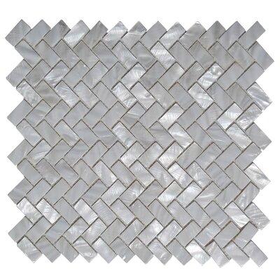 "0.6"" X 1.2"" Seashell Mosaic Tile In White"