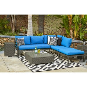 Ellie Indoor/Outdoor Woven Resin Rattan Sectional With Sunbrella Cushions  (Set Of 2)