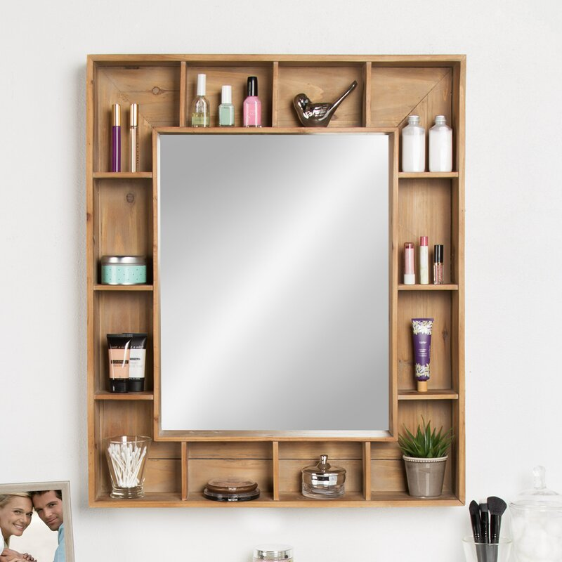 Swanage Rustic Wood Cubby Framed Wall Storage Accent Mirror