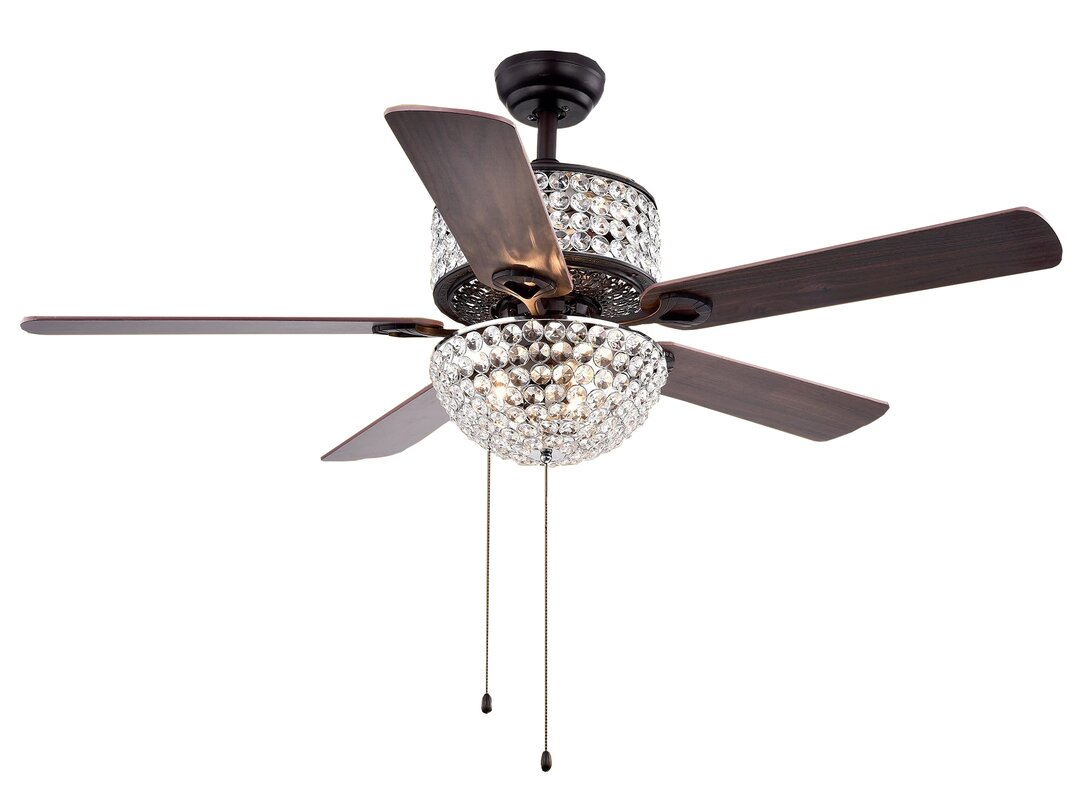 52 5 blade laure crystal 6 light ceiling fan reviews joss main 52 5 blade laure crystal 6 light ceiling fan aloadofball Image collections