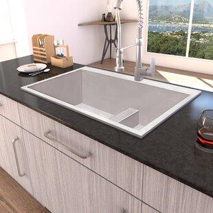 Tirana Low Wide-Divide 33  L x 22  W Double Basin Drop-In Kitchen Sink & Low Divide Kitchen Sink | Wayfair