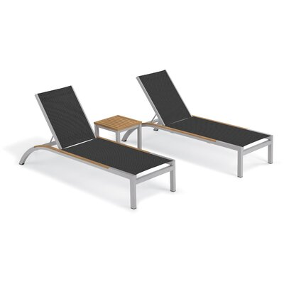 Brayden Studio Saint-Pierre 3 Piece Reclining Chaise Lounge with Table Color: Ninja