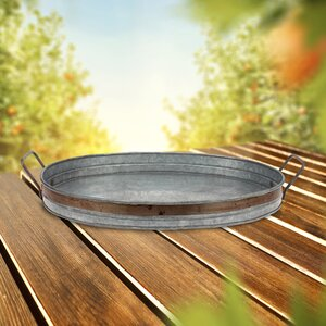 Aged Galvanized Accent Tray with Rust Metal Trim and Handles