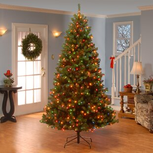 green spruce artificial christmas tree with multi colored lights