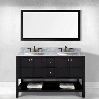 bob 60 double bathroom vanity set with white carrara top and mirror