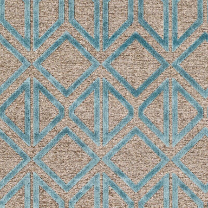 Wrought Studio Pospisil Modern Geometric Taupe/Teal Area