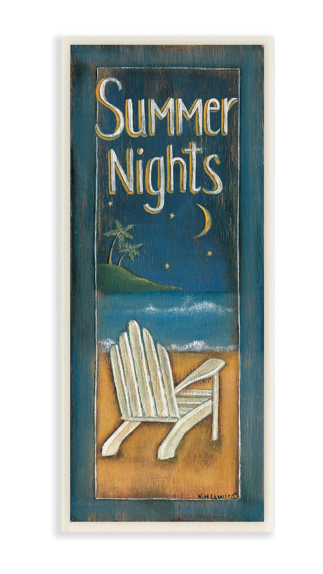 Summer Nights Adirondack Chair Illustration Graphic Art Print On Wood