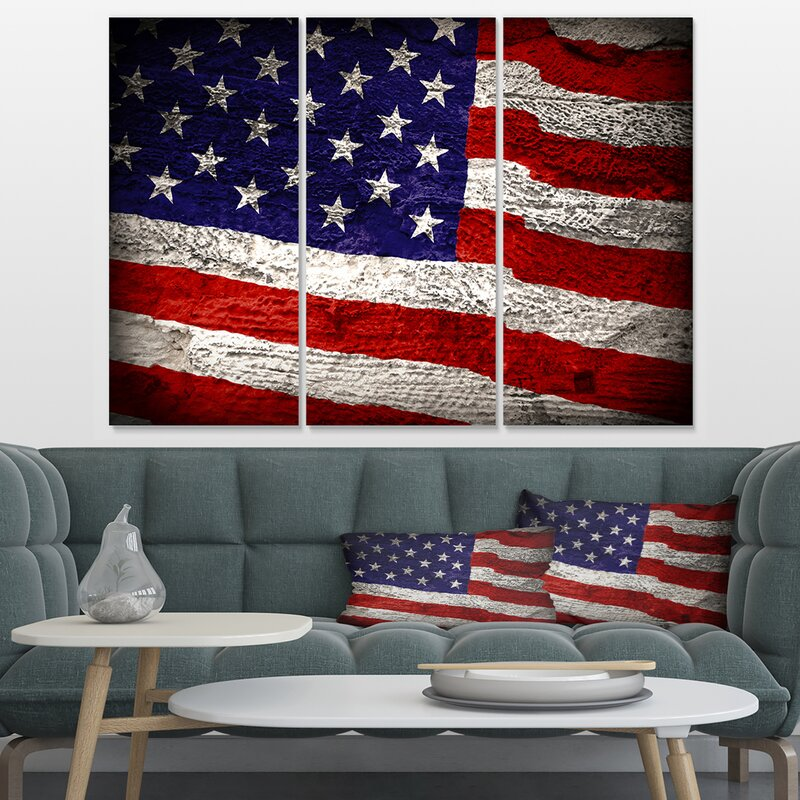 Designart Large American Flag 3 Piece Wall Art On Wrapped Canvas