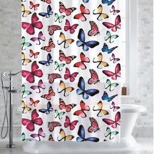 Womac Botanical Butterfly Print Shower Curtain