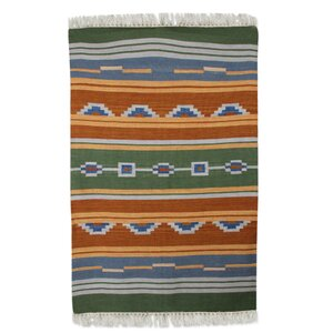 Hand Woven Green/Orange Area Rug