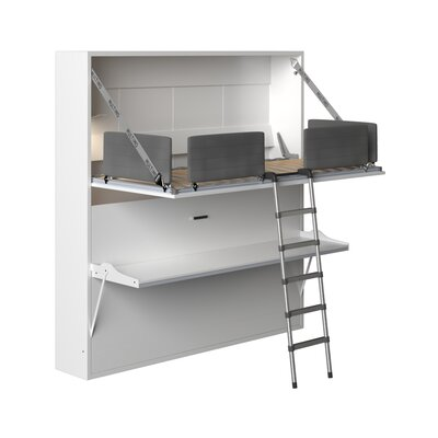 Brayden Studio Gerry Twin Over Twin Murphy Bed Color: Matte White