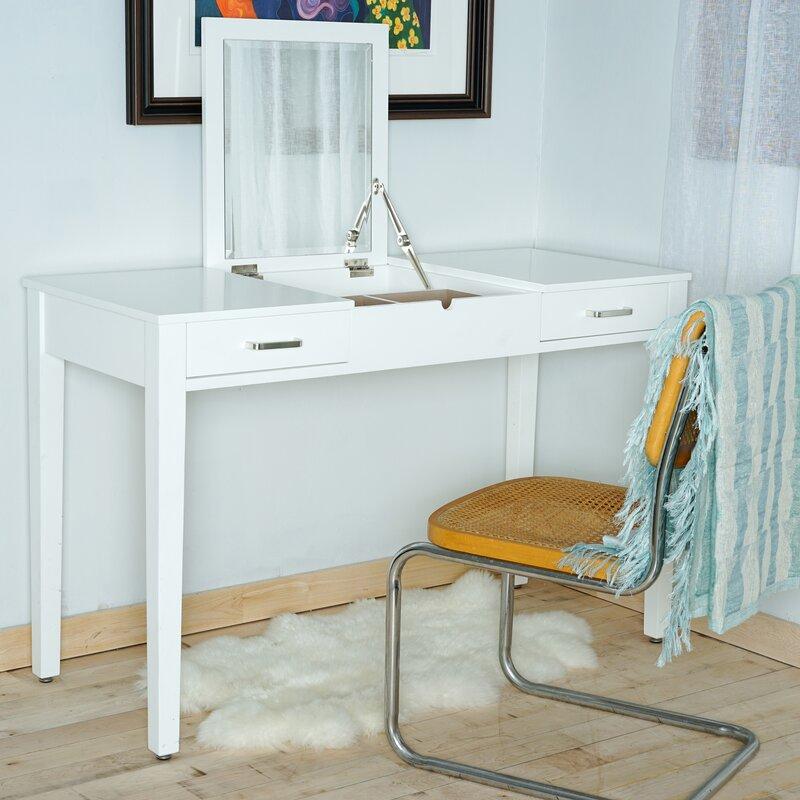 Hives & Honey Haven Home Vanity Desk with Mirror & Reviews | Wayfair