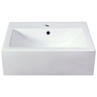 Semi Recessed Rectangular Vessel Bathroom Sink
