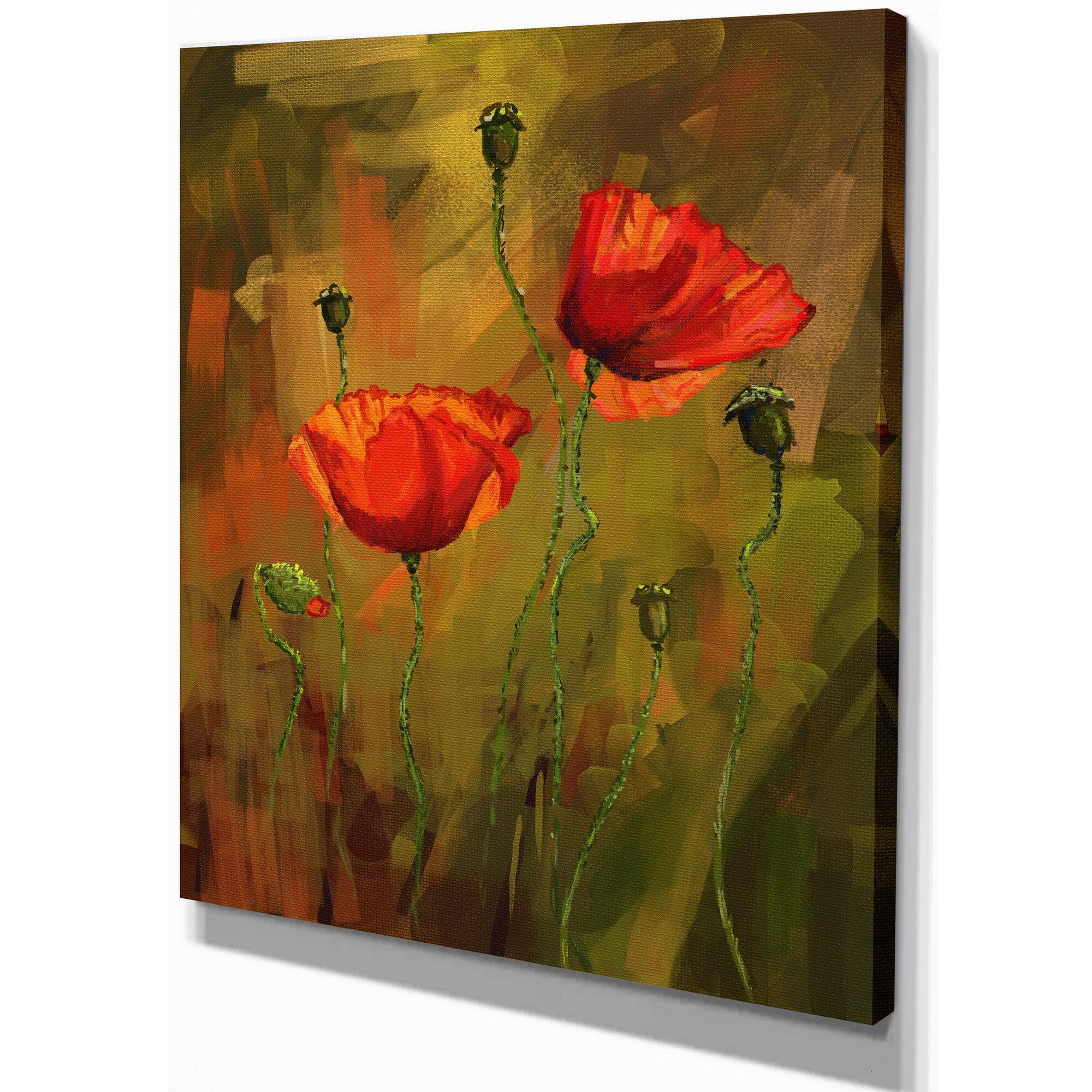 Designart Poppy Flowers Painting Print On Wrapped Canvas Wayfair