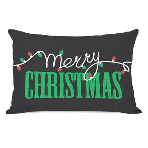 Merry Christmas Light Strand Lumbar Pillow
