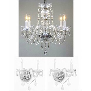 Chandelier wall sconce wayfair lippincott 3 piece crystal chandelier and wall sconce set aloadofball Image collections