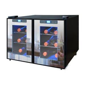 12 Bottle Dual Zone Freestanding Wine Cooler by Vinotemp