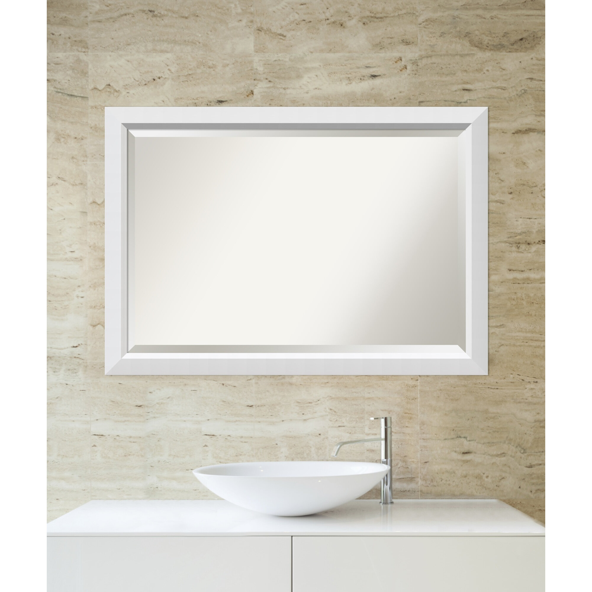 Latitude Run White Angled Wood Accent Wall Mirror Wayfair