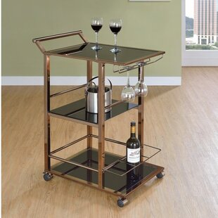 Glore Functional Metal and Glass Bar Carts with Wine Storage