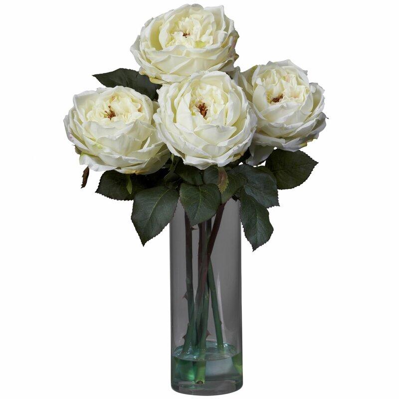 Nearly Natural Fancy Silk Roses In Vase Reviews Wayfair