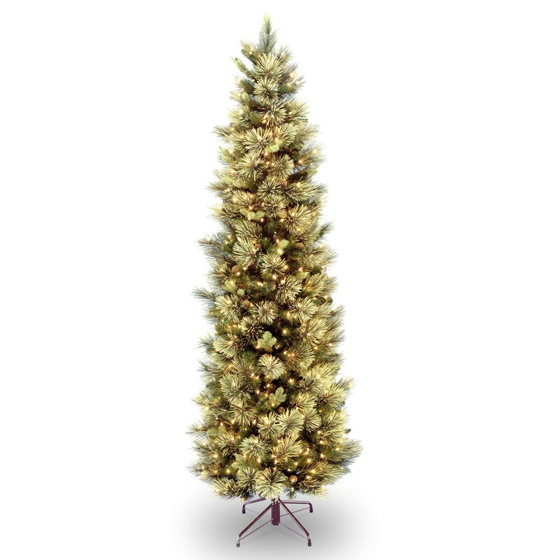 carolina slim 9 green pine artificial christmas tree with 800 clear lights with stand