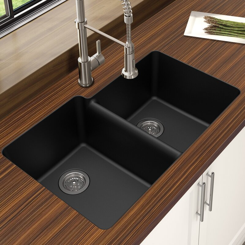 Granite Quartz Offset 33 X 21 Double Basin Undermount Kitchen Sink