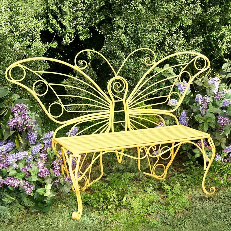 Weather Resistant Butterfly Metal Garden Bench