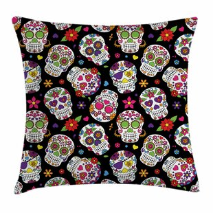 Sugar Skull Festive Ritualistic Square Pillow Cover