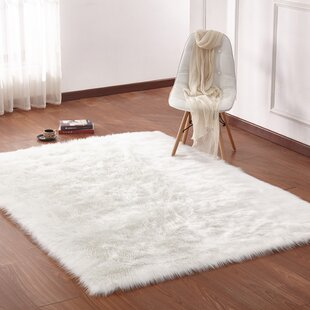 Maria Hand Woven Faux Fur Ivory Area Rug