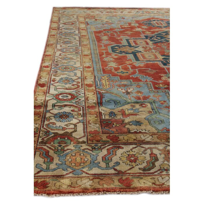 Serapi Hand Knotted Wool Dark Red Area Rug