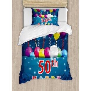 50th Birthday Decorations Joyful Mood Occasion Lettering Stars Balloons Ribbons Duvet Cover Set
