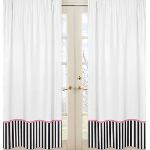 Paris Striped Semi Sheer Rod Pocket Curtain Panels (Set Of 2)