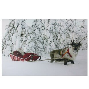 Santa In His Sleigh Fiber Optic Lighted Photographic Print On Canvas