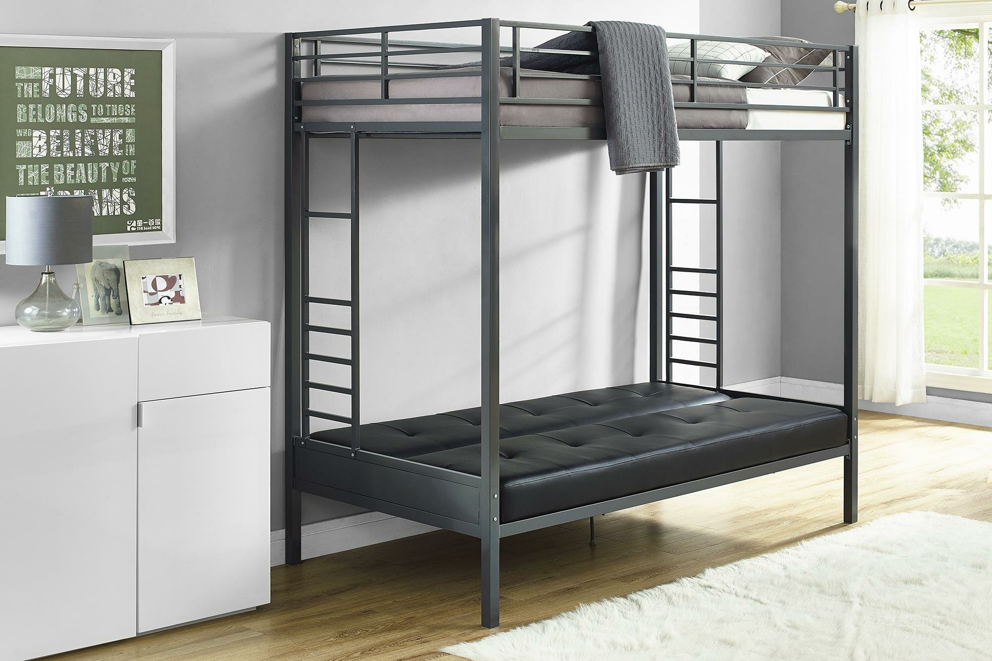 Harriet Bee Kaytlynn Twin Over Futon Bunk Bed Wayfair