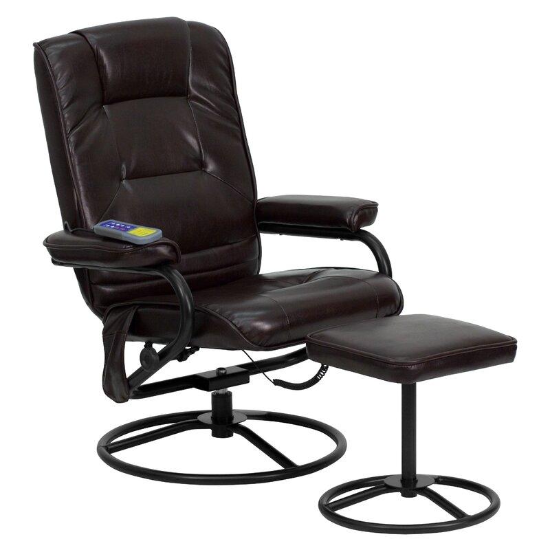 Reclining Massage Chair flash furniture heated reclining massage chair and ottoman