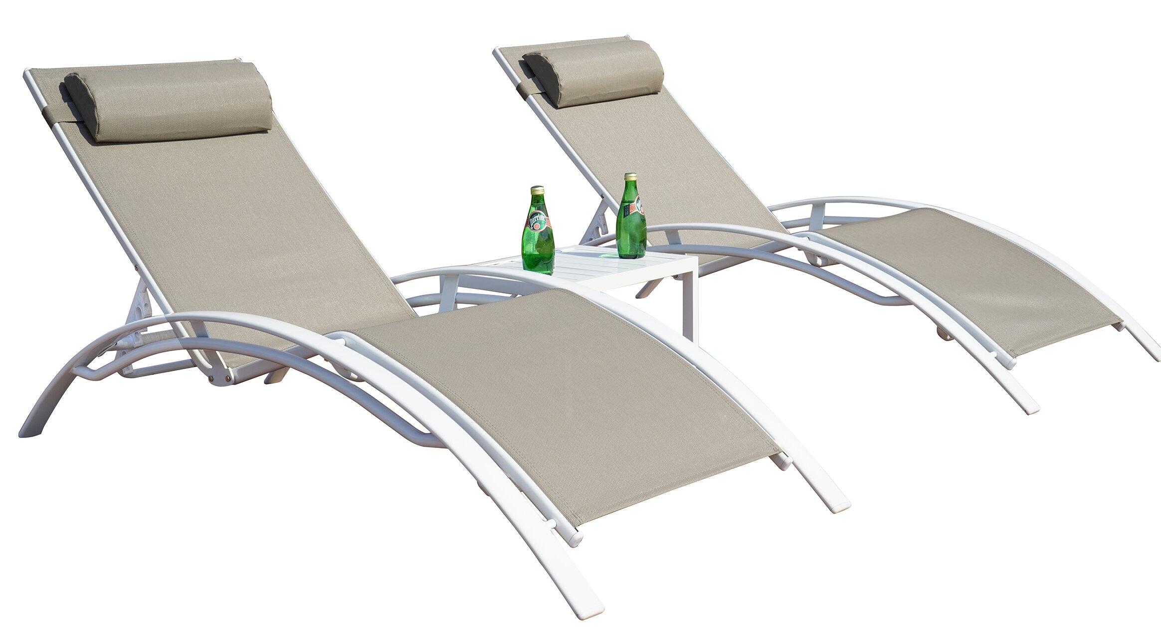 Travon Elegant Patio Adjustable Reclining Chaise Lounge