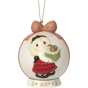 May the Gift of Love Be Yours This Season Dated 2017 Bisque Porcelain Ball Ornament with Base